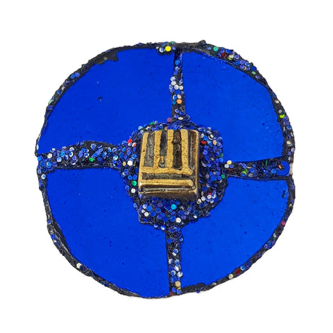 BLUE DISC BROOCH - AFRICA MONEY
