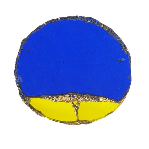BLUE AND GOLD DISC BROOCH - PROMISED LAND