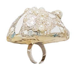 PEARL AND MIRROR DOMBED COCKTAIL RING