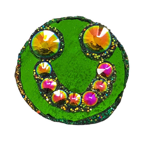 GREEN SMILEY FACE BROOCH - EARTH SMILE