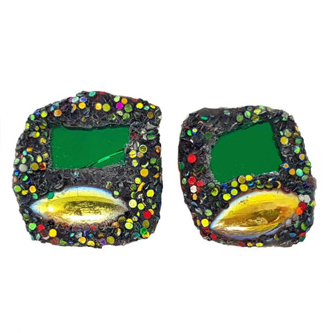 GREEN AND GOLD CUFFLINKS