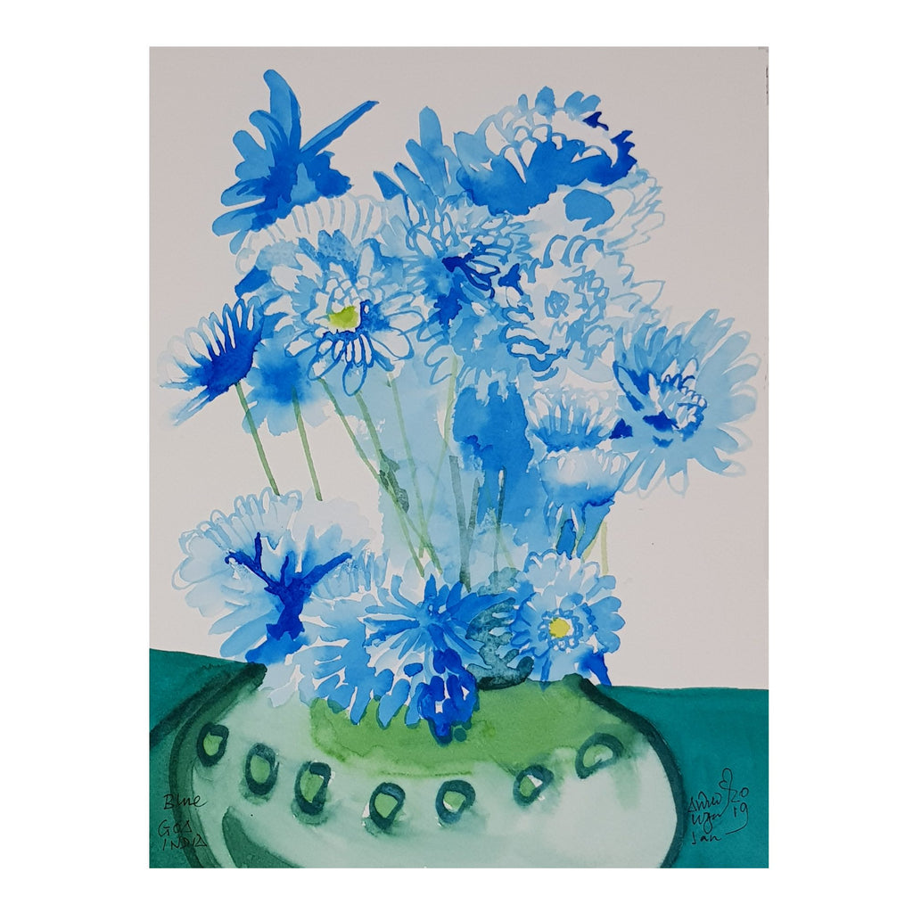 ORIGINAL WATERCOLOUR OF VASE OF BLUE FLOWERS, GOA - BY ANDREW LOGAN 2019
