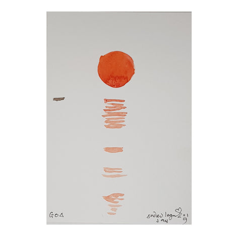 ORIGINAL WATERCOLOUR OF ORANGE SUNSET IN GOA, INDIA - ANDREW LOGAN 2019