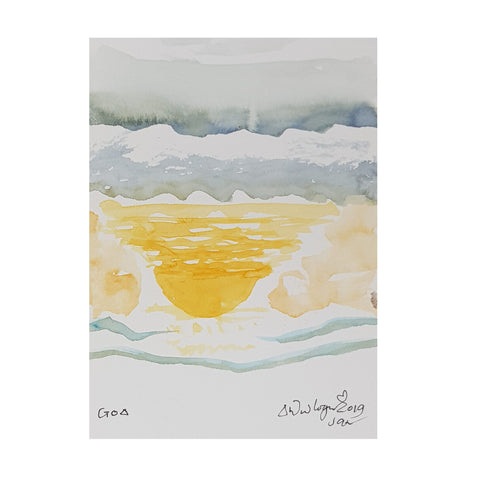 ORIGINAL WATERCOLOUR OF REFLECTED SUN IN GOA, INDIA - ANDREW LOGAN 2019