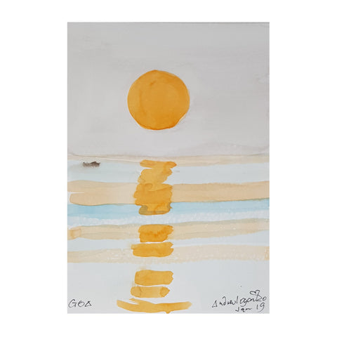 ORIGINAL WATERCOLOUR OF SUNSET IN GOA, INDIA - ANDREW LOGAN 2019