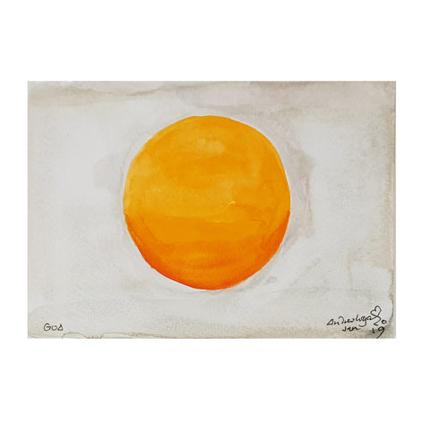 ORIGINAL WATERCOLOUR OF ORANGE SUN IN GOA, INDIA - ANDREW LOGAN 2019