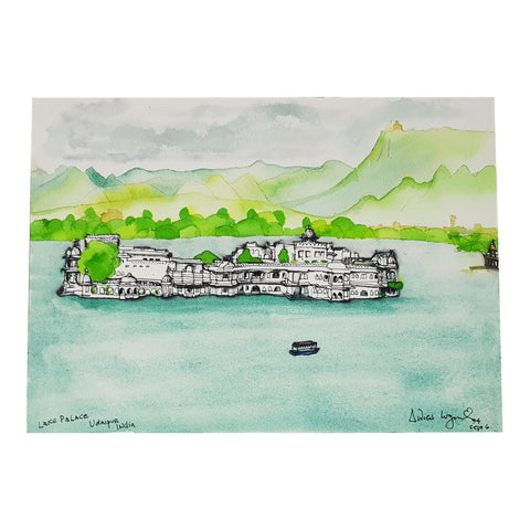 ORIGINAL WATERCOLOUR OF LAKE PALACE, INDIA - ANDREW LOGAN 1994