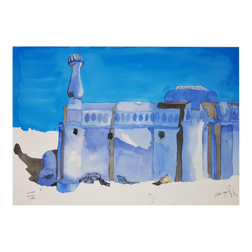 ORIGINAL WATERCOLOUR OF BUNDI MOSQUE, INDIA - ANDREW LOGAN 2002