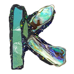 LETTER K - GREEN & BLUE BROOCH