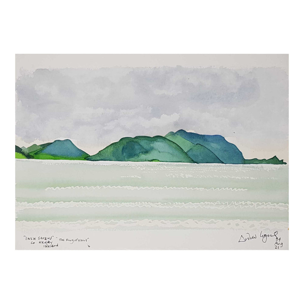 ORIGINAL WATERCOLOUR OF INCH STRAND, KERRY, IRELAND - ANDREW LOGAN 1994