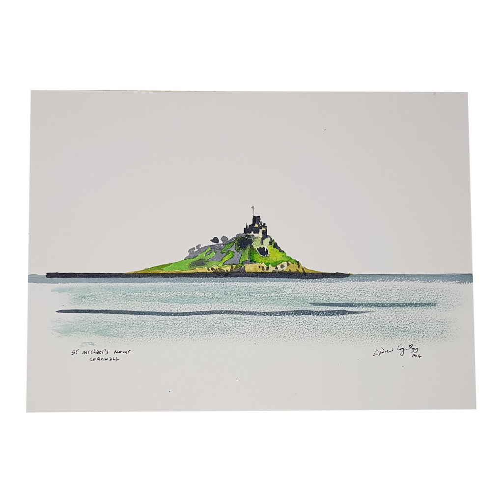 ORIGINAL WATERCOLOUR OF ST MICHAEL'S MOUNT, CORNWALL - ANDREW LOGAN 1999
