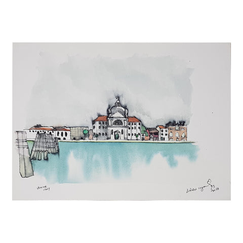 ORIGINAL WATERCOLOUR OF VENICE, ITALY - ANDREW LOGAN 1993