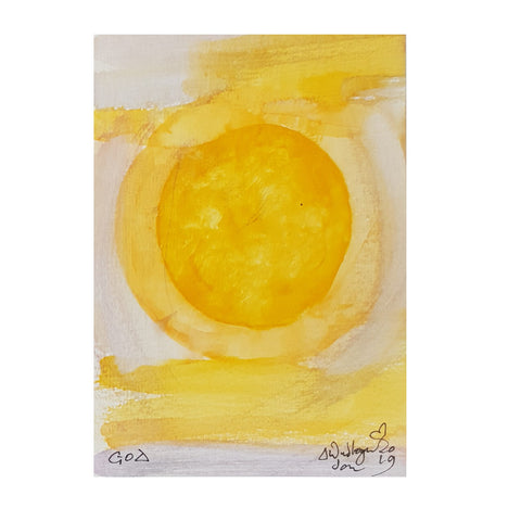 ORIGINAL WATERCOLOUR OF YELLOW SUN IN GOA, INDIA - ANDREW LOGAN 2019