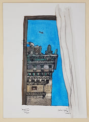 ORIGINAL WATERCOLOUR OF BROADWAY SKYLINE - ANDREW LOGAN 1994