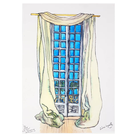 ORIGINAL WATERCOLOUR OF THE GREAT WINDOW, VILLA VALLOMBROSA - BY ANDREW LOGAN 1991