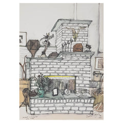 ORIGINAL WATERCOLOUR OF MARC'S FIREPLACE - BY ANDREW LOGAN 1992