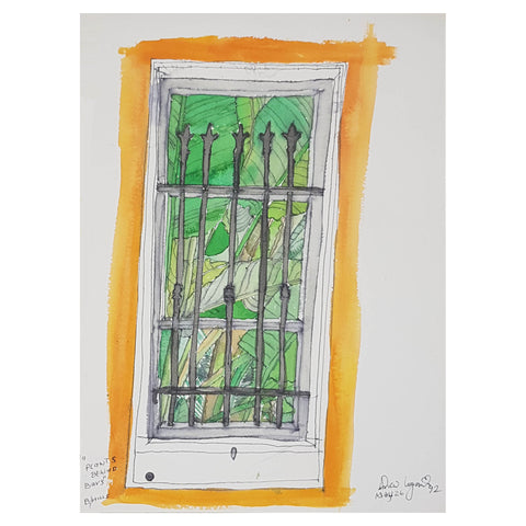 ORIGINAL WATERCOLOUR OF PLANTS BEHIND BARS - BY ANDREW LOGAN 1992
