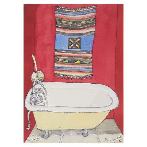 ORIGINAL WATERCOLOUR OF BATHROOM - BY ANDREW LOGAN 1992