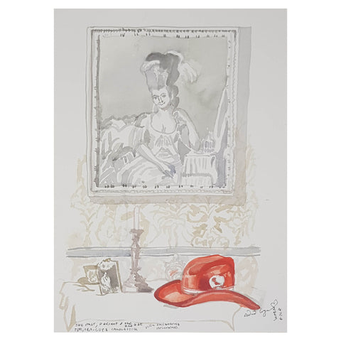 ORIGINAL WATERCOLOUR OF THE PAST, PRESENT AND THE RED HAT - BY ANDREW LOGAN 2003