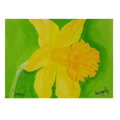 ORIGINAL WATERCOLOUR OF A YELLOW DAFFODIL,WALES  - BY ANDREW LOGAN 2019