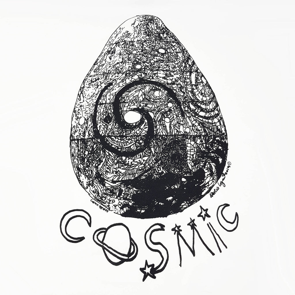 ANDREW LOGAN COSMIC EGG T-SHIRT, Black and white design