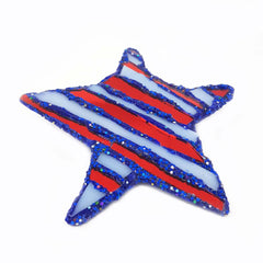 RED AND BLUE STAR BROOCH - STAR & STRIPES
