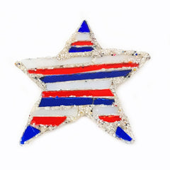 RED, WHITE AND BLUE STAR BROOCH - STAR & STRIPES