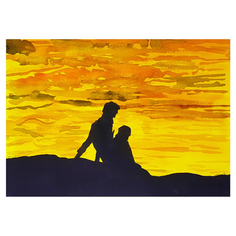 ORIGINAL WATERCOLOUR OF SILHOUETTED COUPLE, CHENNAI, INDIA - ANDREW LOGAN 2010