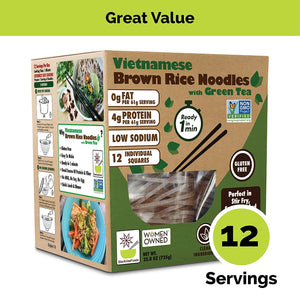 Vietnamese Gluten Free Brown Rice Noodles With Green Tea - Family Pack - 12 servings
