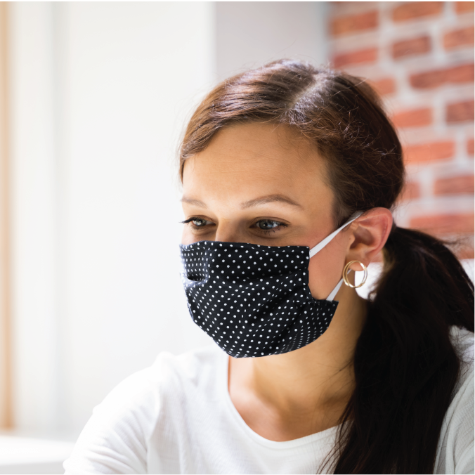 Reusable Cotton Poplin Face Mask with Wire for Comfort Fit