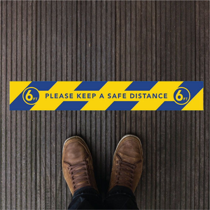 20'' x 3'' Social Distancing Safety Floor Decals - Waterproof