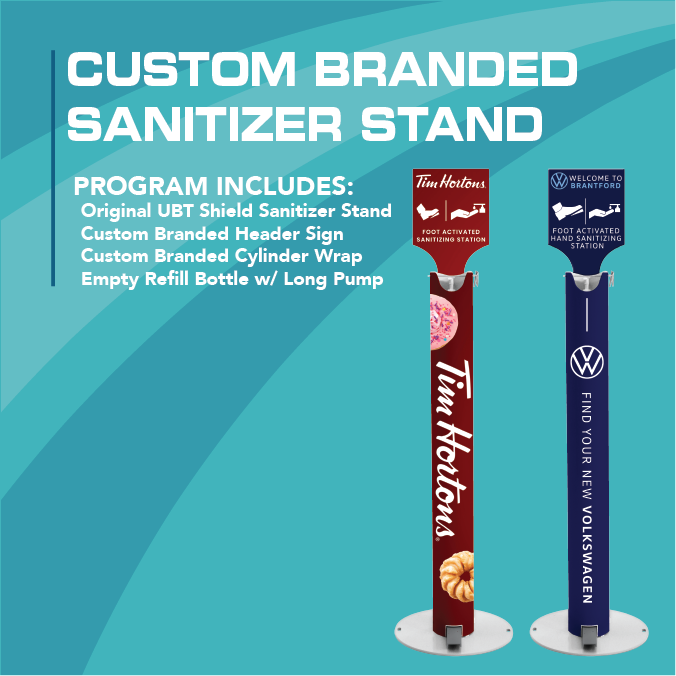 Branded Shield Pedal Activated Sanitizer Dispenser - Original