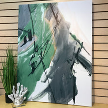 Load image into Gallery viewer, Green & Grey Abstract on Canvas