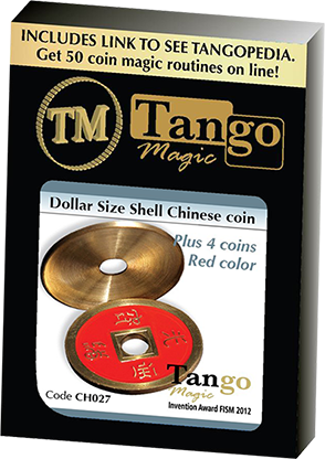 Dollar Size Shell Chinese Coin (Red) - Tango Magic