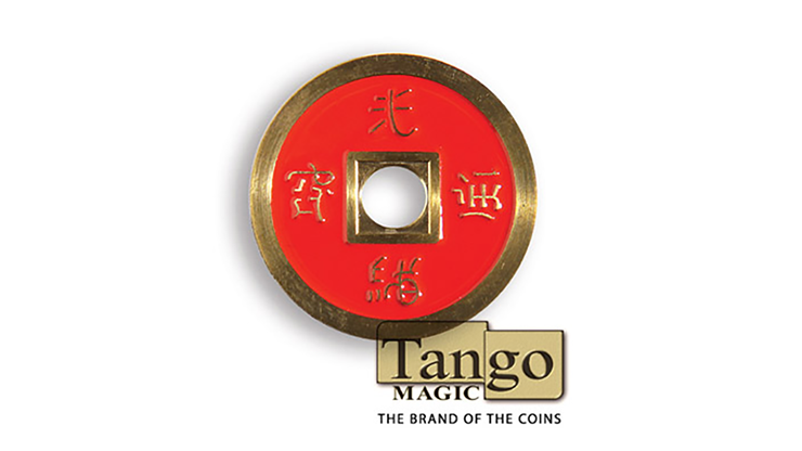 Dollar Size Chinese Coin (Red and Blue) - Tango Magic