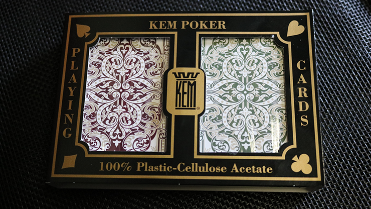 KEM Bridge Plastic Playing Cards Jacquard (Purple and Green 2 Deck Set Jumbo Index) - Trick