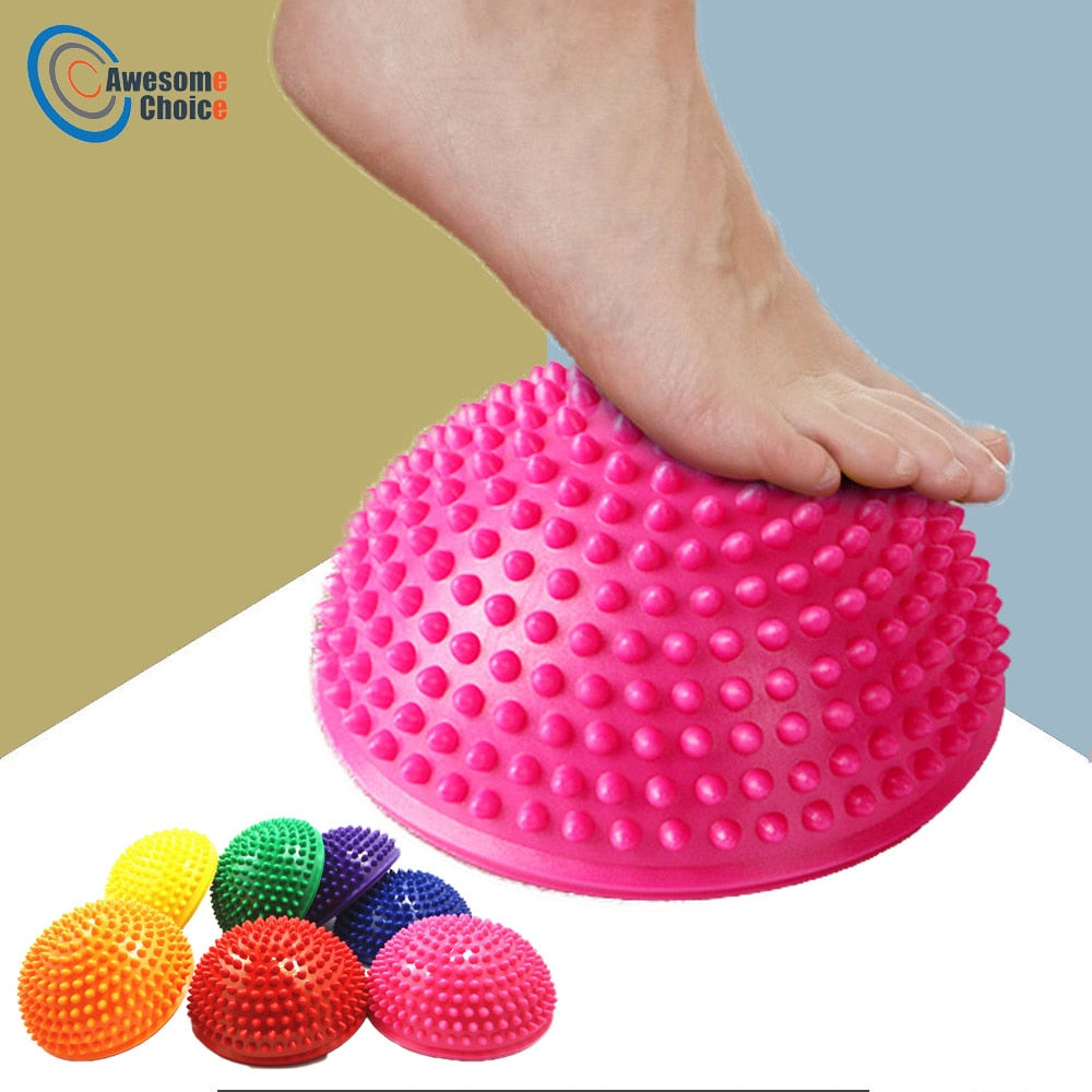 16cm Yoga Ball PVC Inflatable Massage Point Half Fit Ball Balance Trainer Stabilizer GYM Pilates Fitness Balancing Bosu Ball