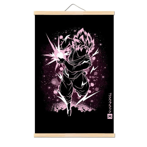 Tableau Dragon Ball Z Black Goku Rosé Kamehameha