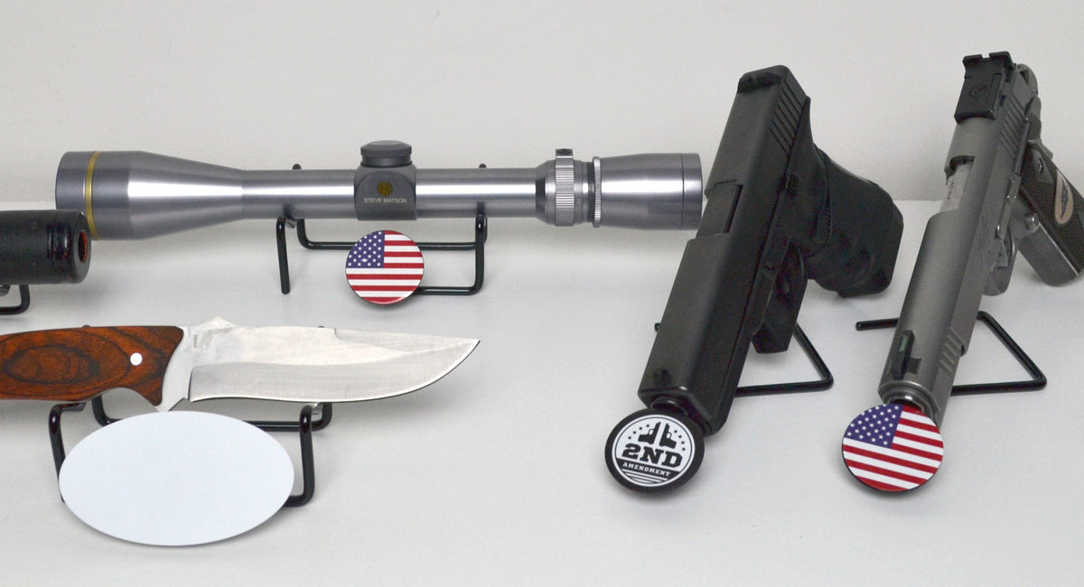 Branded gun display stands, logo gun display stand, gun rack, gun display, brand display