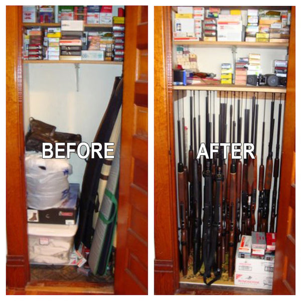 Here Is The Before Picture (Left) Of The Closet Where Gun Supplies And  Hunting Accessories Were Stored. The Guns Were Stored In A Small Homemade  Gun Cabinet ...