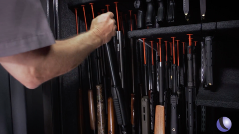 Rifle Rods make easy access to guns in back row