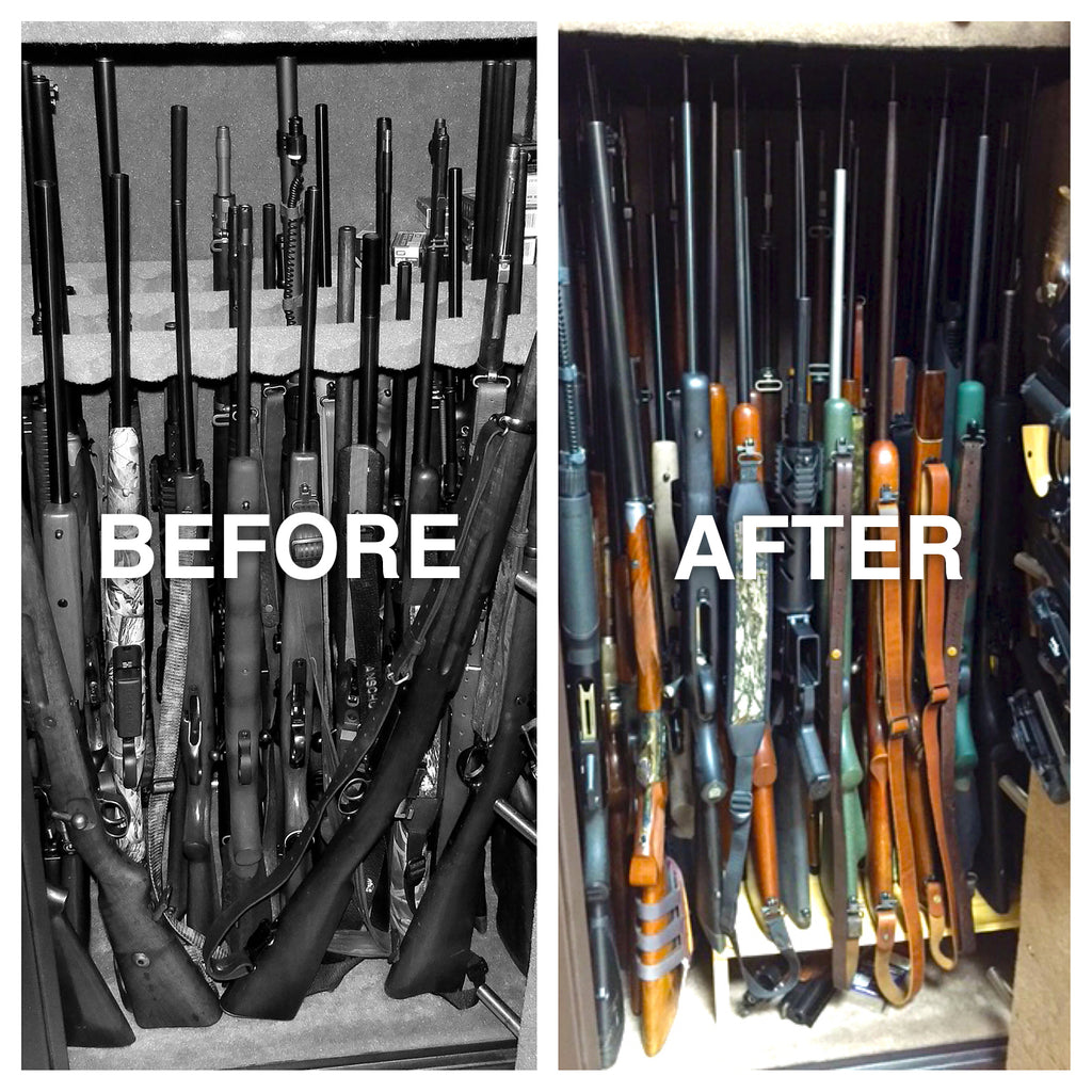 Gun Safe with Rifle Rods Before and After