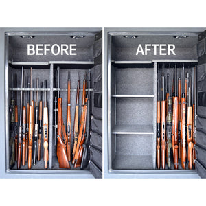 Gun Safe - 1) Before with traditional racks 2) After with Rifle Rods storage system