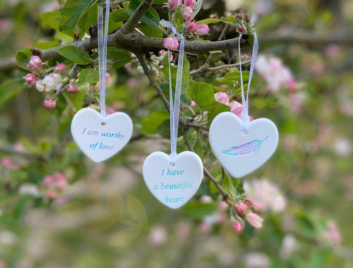 Affirmation Heart -  small dangly - Send to a Friend UK