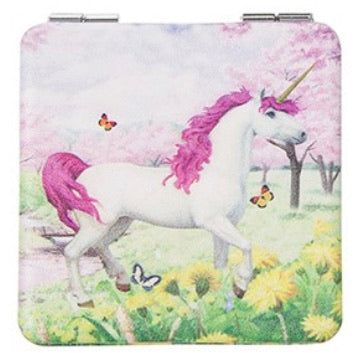 Unicorn handbag/pocket mirror (square)