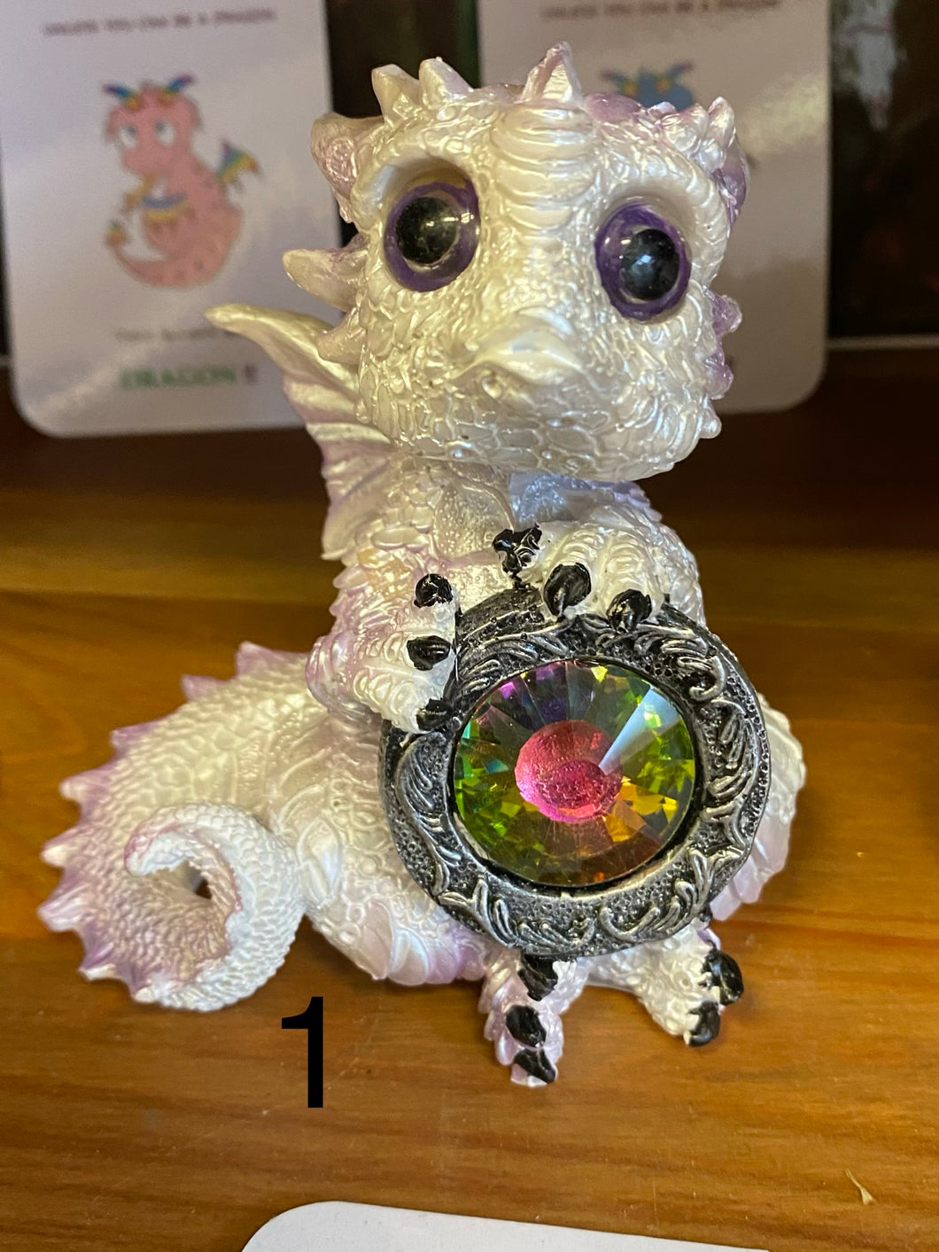 Dragon in white with rainbow gem. - Send to a Friend UK