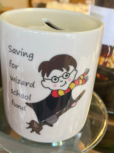 Saving for wizard school fund Money Box ~ can be personalised - Send to a Friend UK