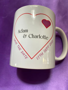 SAVE THE DATE PERSONALISED MUG INCLUDES UK POSTAGE