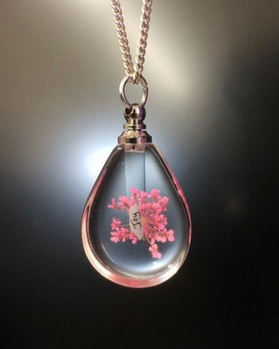 Beautiful pendant with flowers encapsulated and your name written on rice! FREE UK POSTAGE - Send to a Friend UK