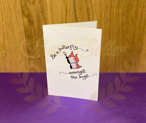 Butterfly amongst the bugs greetings card - Send to a Friend UK